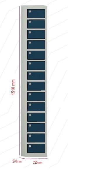 Porta objetos - 14 portas sobrepostas com FECHADURA  -  1510mm alt  X 225 mm larg X 270 mm prof