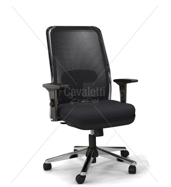 Cadeira para escritório giratória presidente 16001 (LR) - Syncron - Braço SL - Linha NewNet - Cavaletti - Base Estampada Cromada