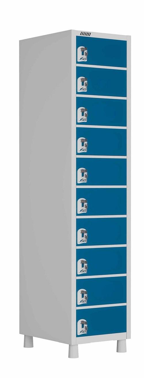 Porta objetos - 10 mini portas sobrepostas com fechadura  -  1820mm X 325mm X 420mm