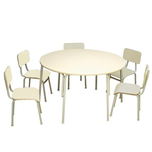 Conjunto de mesa redonda juvenil (6 à 10 anos) - 1 mesa + 6 cadeiras - 06 lugares - Branco ou Bege - Dellus