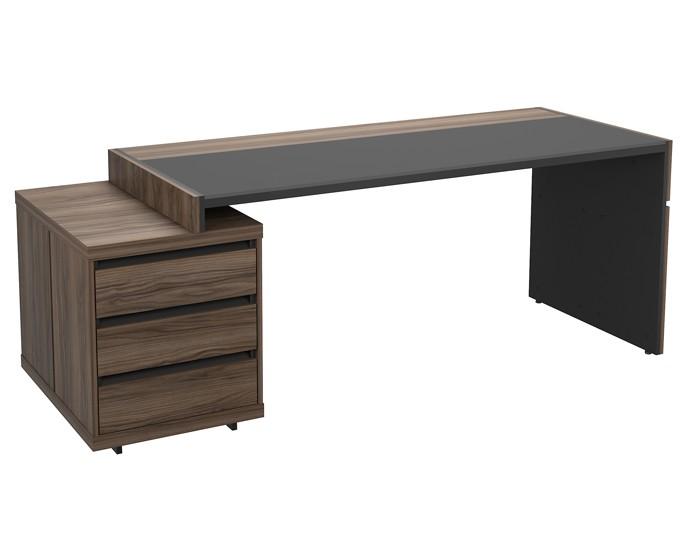 Mesa para escritório reta com 3 gavetas- tampo com detalhe em vidro - Linha Prime