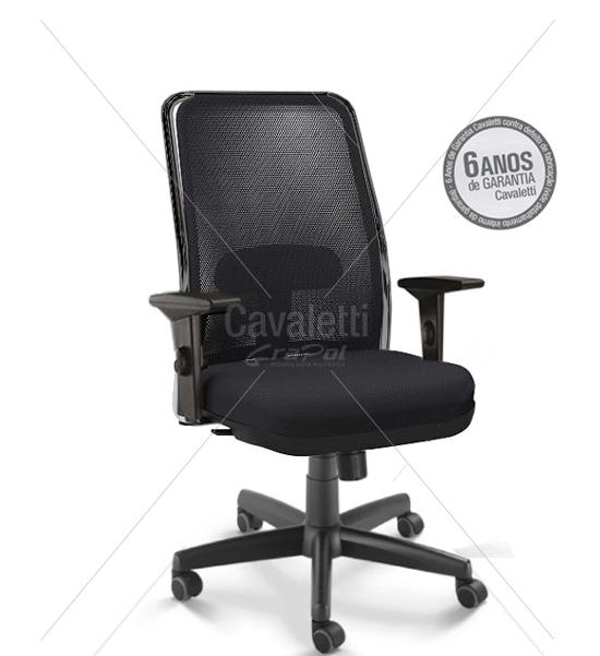 Cadeira para escritório giratória presidente 16001 - (LR) - Syncron - Braço SL - Linha NewNet - Cavaletti - Base Polaina
