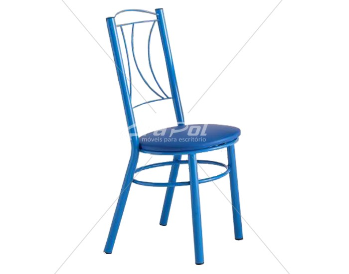 Cadeira 411 em Aço - Assento Redondo - Estofada - Unimóvel