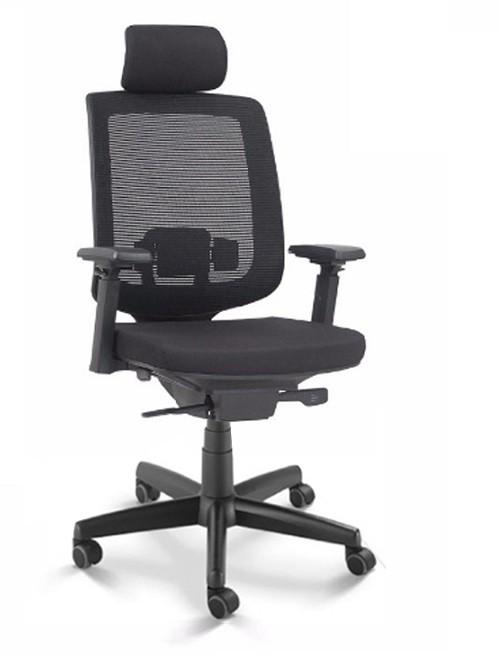 Cadeira para escritório giratória presidente 28001 AC - Syncron - Linha C3 - BRAÇO 4D - Cavaletti - Base em Polaina -