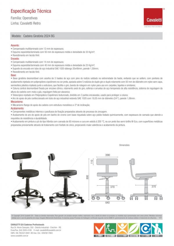 Mocho ( Cadeira Giratória 2024 BG sem polaina e com encosto - aro cromado- injetado )  -