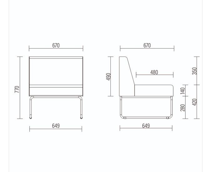 Sofá Modular Pix - Espuma Injetada - Base em Metal -