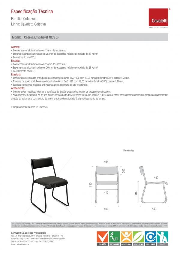 Cadeira para escritório fixa aproximação 1003 -  ESTRUTURA Preta - Linha Coletiva - Cavaletti -