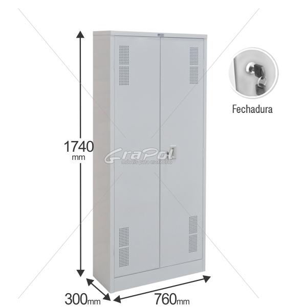 Armário de Aço RAA407 - 2 Portas - 1740x760x300mm RCH