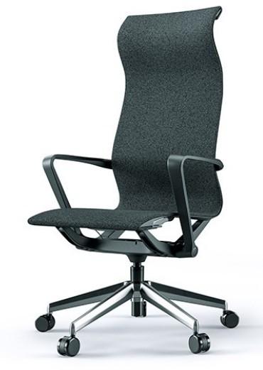 Cadeira para escritório giratória presidente 44101 Auto Regulável - Linha Aura - Braço - Estrutura Preta - Cavaletti - Base Alumínio