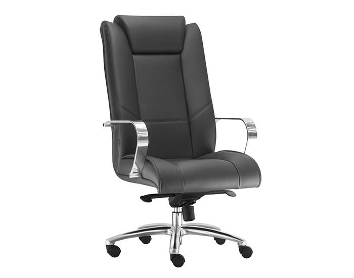 Cadeira para Escritório Presidente Giratória KONI010- Mecanismo Sincron - Base Semi-Arcada em Alumínio - Com Apoio de Cabeça -  Com Braço - Linha New Onix - Frisokar