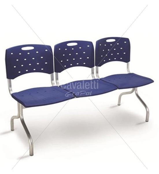 Conjunto Cadeira Auditório longarina 35010 3L - ESTRUTURA CROMADA - Linha Viva - Cavaletti
