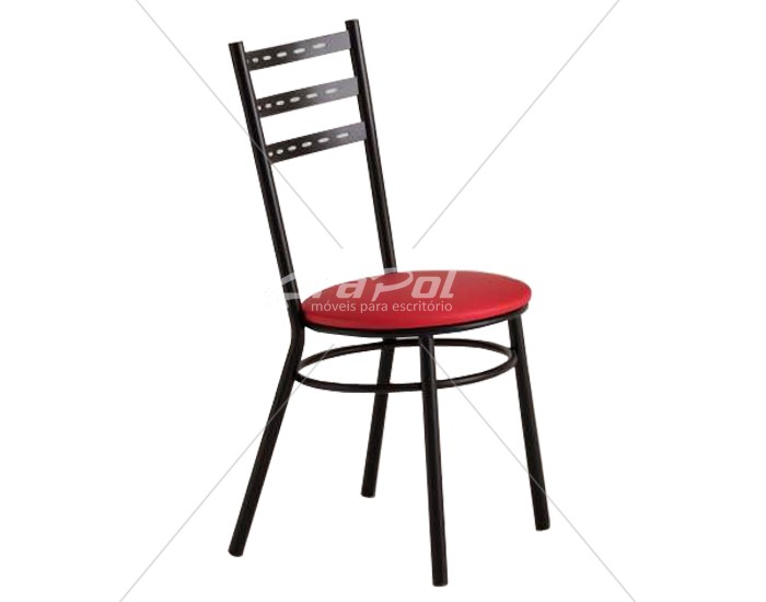 Cadeira 402 em Aço - Assento redondo - Estofada - Unimóvel