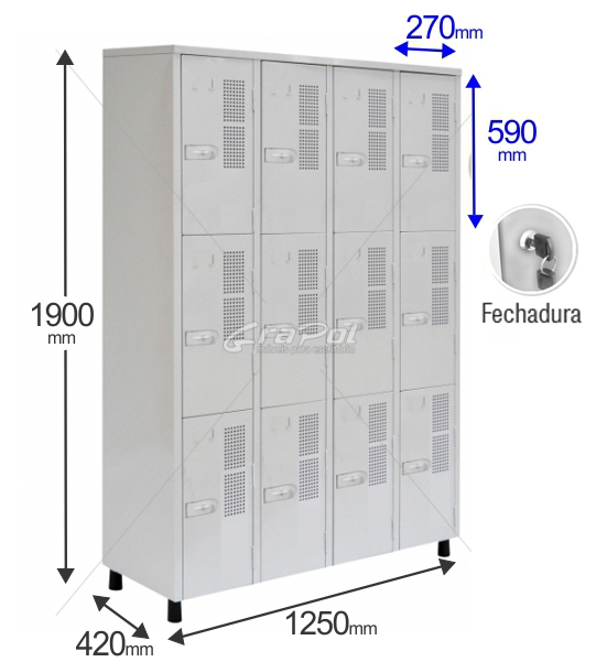 Roupeiro Para Vestiário RGRSP 12 E - 12 Portas - Com FECHADURA - RCH