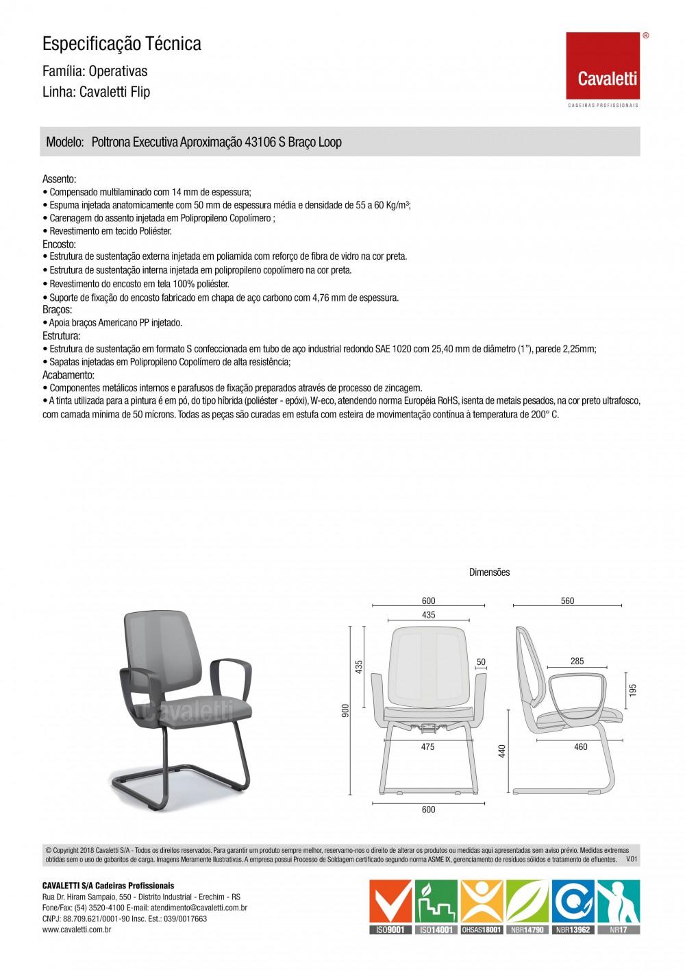 Cadeira para escritório fixa aproximação 43106 S - Braço LOOP - ESTRUTURA CROMADA - Linha FLIP - Cavaletti -