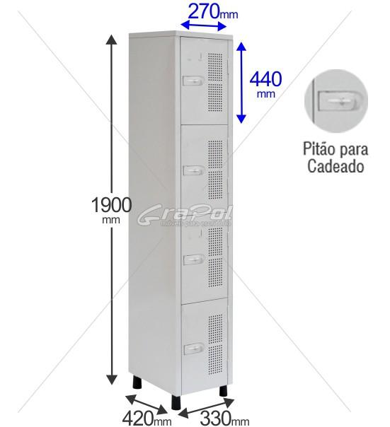 Roupeiro Para Vestiário RGRSP 2/4 4 Portas -Com Pitão para CADEADO - RCH