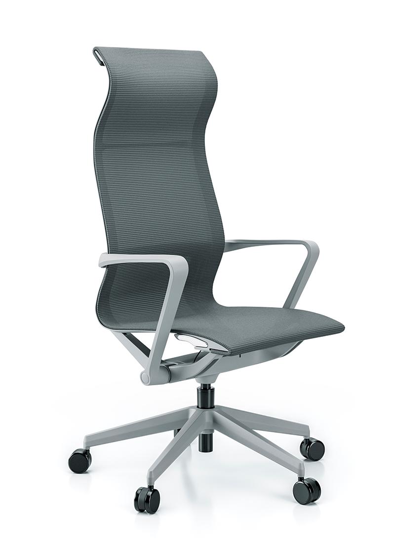 Cadeira para escritório giratória presidente 44101 Auto Regulável - Linha Aura - Braço - Estrutura Cinza - Cavaletti - Base Nylon Cinza