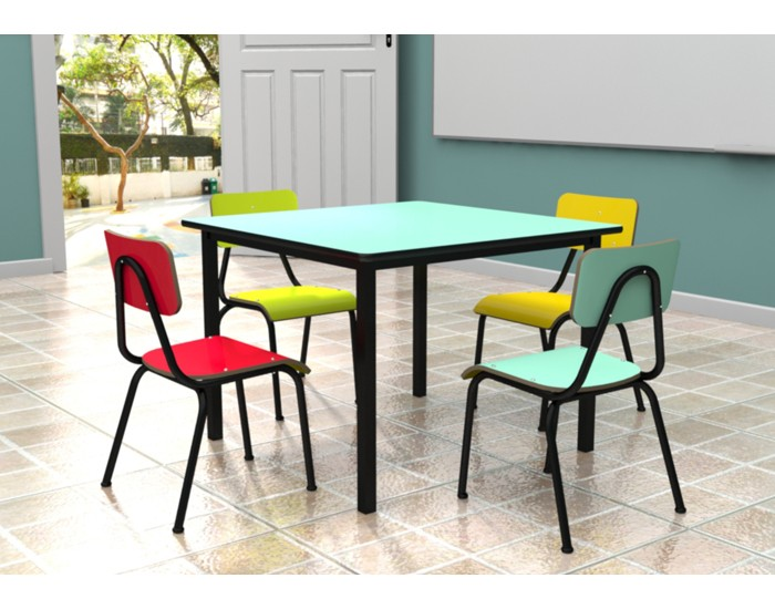 Conjunto de mesa infantil (1 à 5 anos) colorido - Dellus -