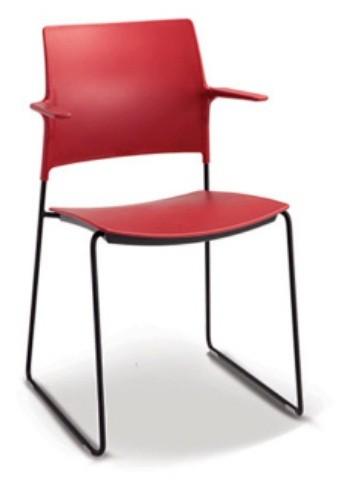 Cadeira para escritório fixa aproximação 34006 arco com braços - Estrutura Preta - Linha Go - Cavaletti