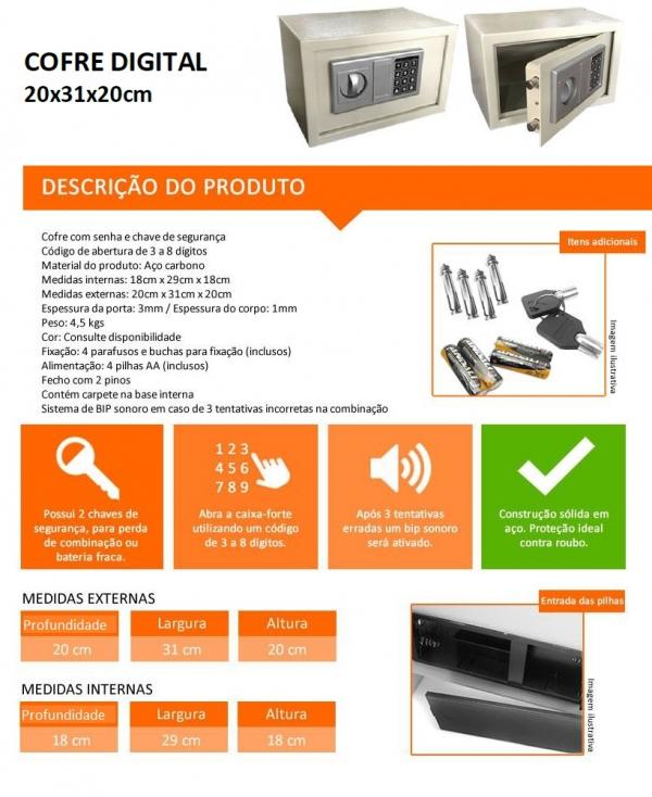 Cofre Digital Médio - Altura 200 mm x Profundidade 200 mm x Largura 310 mm -