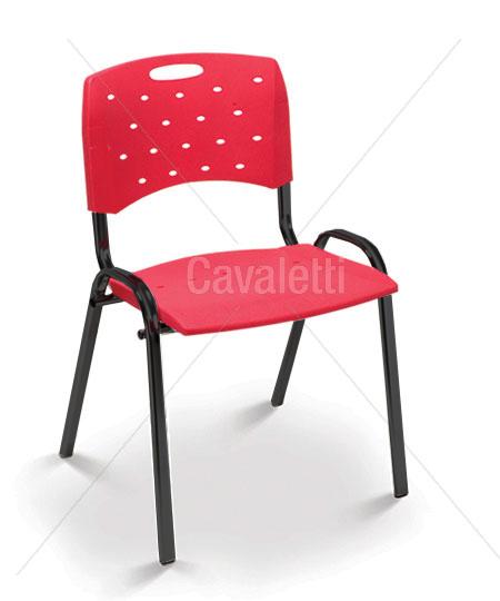 Cadeira para escritório fixa 35008 P Viva - Estrutura Preta - Linha Viva - Cavaletti