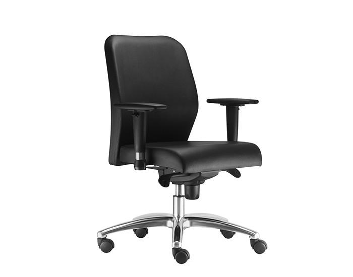 Cadeira Para Escritório Diretor Giratória POP014 - Mecanismo Sincron - Base Semi Arcada em Alumínio - Linha Pointer Premium - Com Braço PU - Frisokar