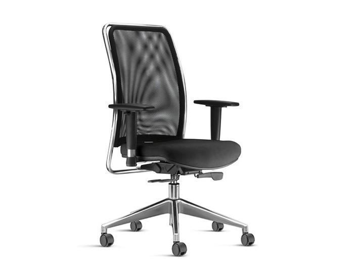 Cadeira para Escritório Presidente Giratória SOU589 - Mecanismo Sincron - Base Piramidal em Alumínio - Encosto em tela -  Com Braço - Linha SOUL - Frisokar