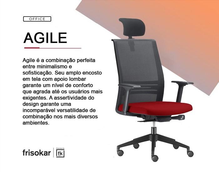 Cadeira para Escritório Presidente Giratória AC KAGI24 - Mecanismo Auto Ajustável Deslizante - Base Nylon - Apoio Lombar - Com Braço - Rodízio PP - Linha Agile - Frisokar -