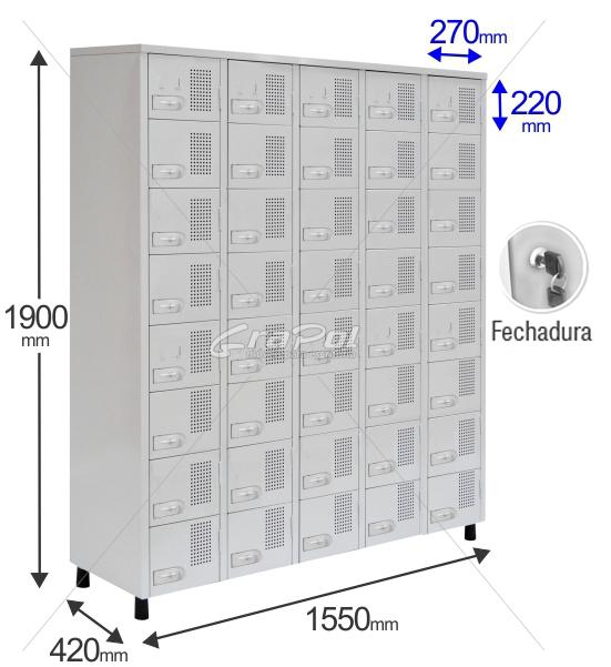Roupeiro Para Vestiário RGRSP 40 Portas - Com Fechadura - RCH