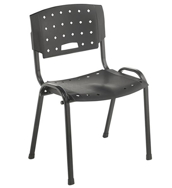 Cadeira Empilhável Plástica - Estrutura Preta - Assento e Encosto Preto