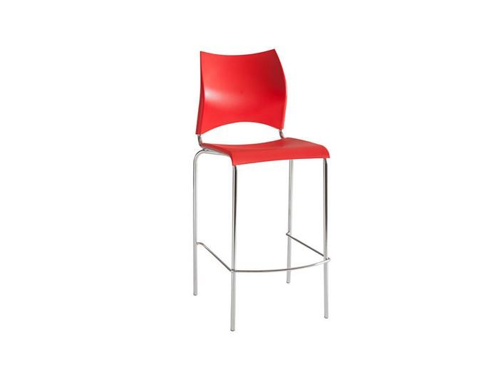 Banqueta Bar 080  - Com Assento e Encosto Em Plástico - 45cm