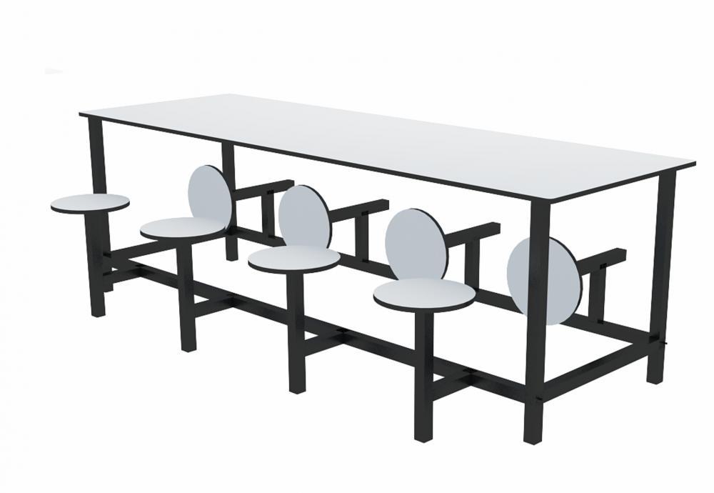 Mesa para refeitório com banco escamoteável 8 lug. MDF 25mm - C2400 x P800 x A750mm - Dellus
