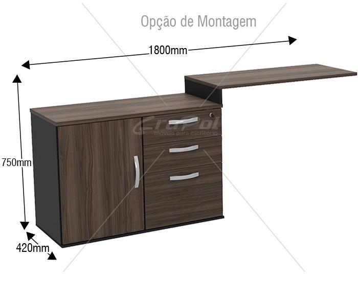 Mesa Auxiliar - 1 Porta - 4 Gavetas - 900mm x 420mm x 750mm - MDP 40mm -