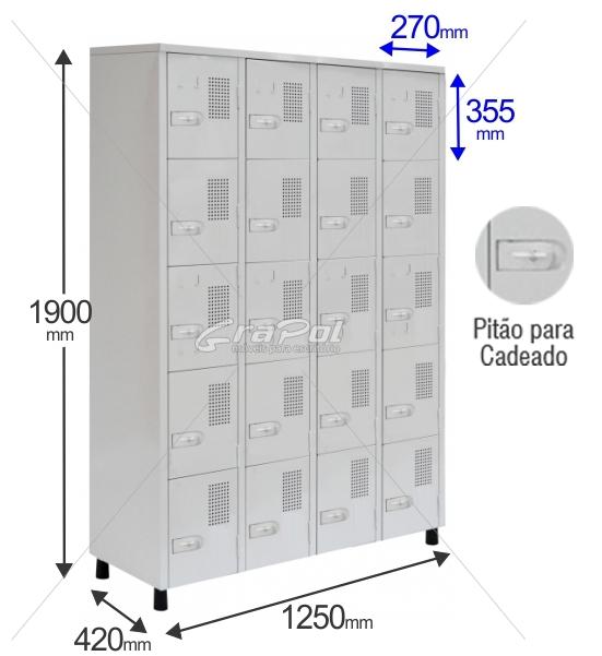 Roupeiro Para Vestiário RGRSP 20 Portas - Com Pitão para CADEADO - RCH