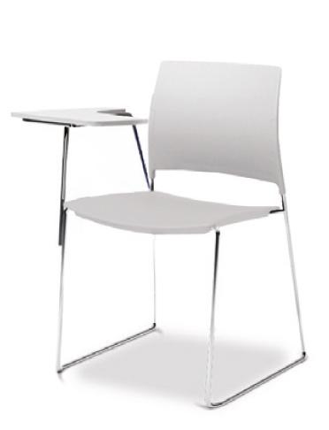 Cadeira para escritório fixa Universitária com Prancheta Escamoteável 34006 A - Estrutura Cromada - Linha Go - Cavaletti