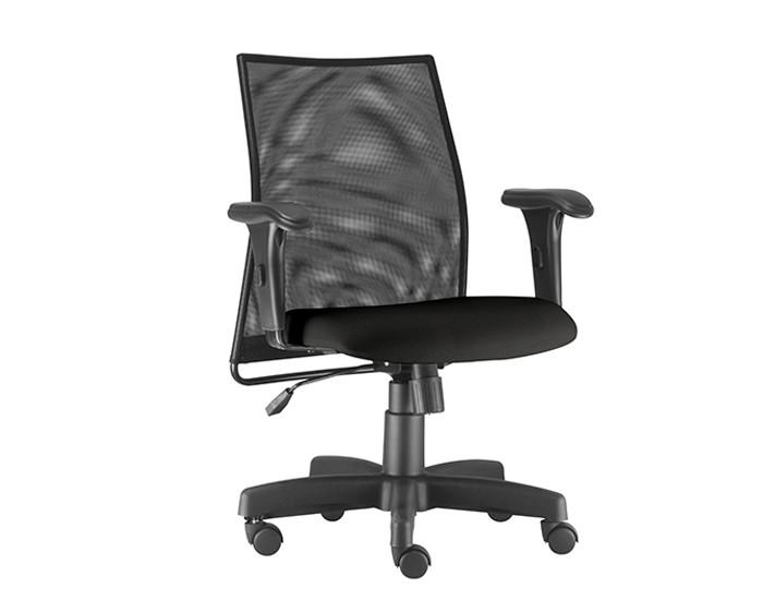 Cadeira Para Escritório Diretor Giratória LIS101 - Mecanismo Relax - Encosto em Tela - Base Metálica com Capa - Linha LISS - Com Braço PP - Frisokar