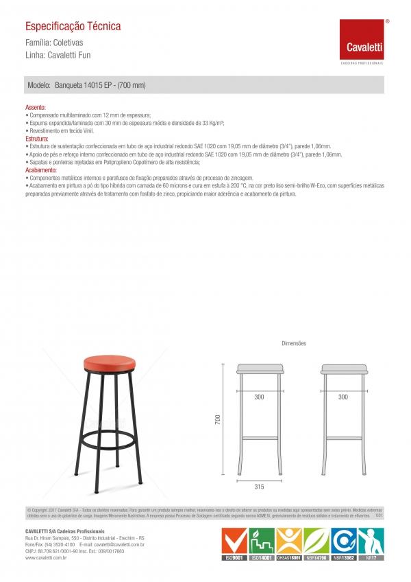 Banqueta / Banco - sem encosto 14015 - 700mm Altura Alto Estrutura Preta - Linha Fun - Cavaletti  -