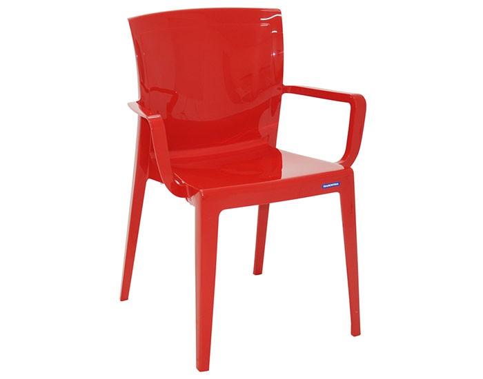 Cadeira Tramontina Victória Vermelha com Braços Encosto Fechado em Polipropileno