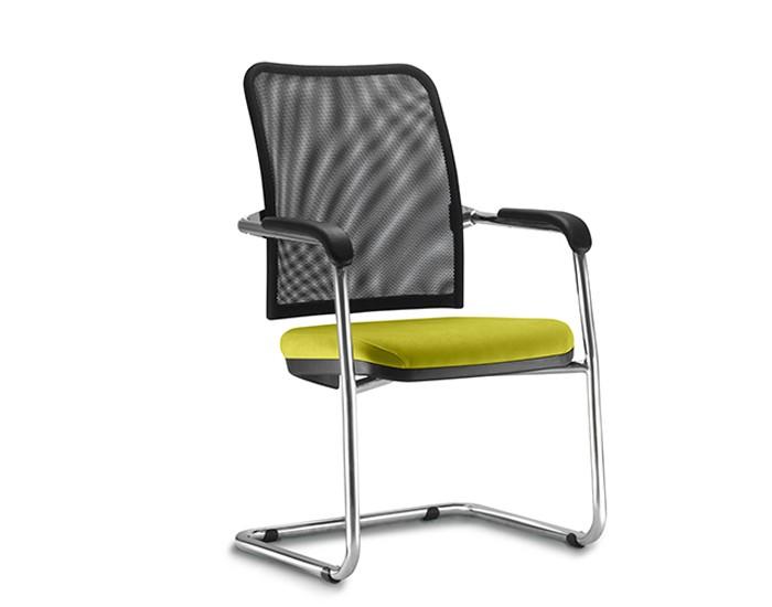 Cadeira Fixa SOU579 - Encosto em Tela - Base SKL Cromada - Linha SOUL- Com Braço - Frisokar
