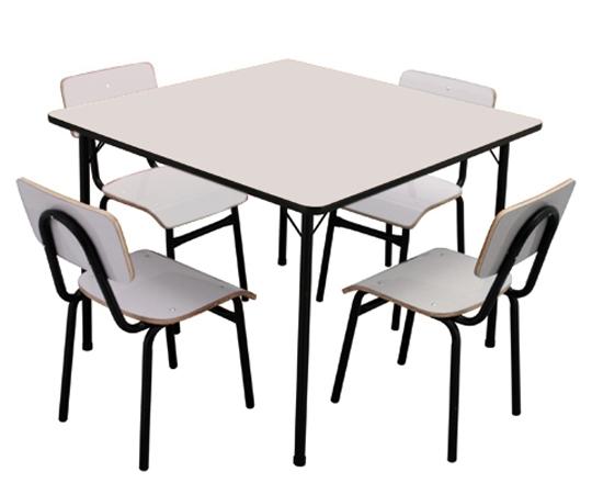 Conjunto de mesa juvenil (6 à 10 anos) - Branco ou Bege - Dellus