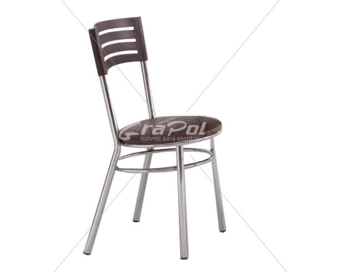 Cadeira 434 em Aço - Assento Redondo - Encosto em Plástico- Estofada - Unimóvel