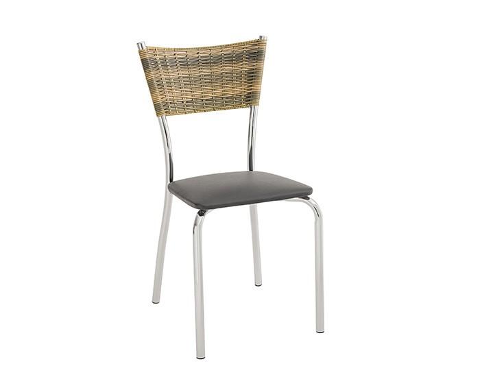 Cadeira 430 em Aço - Assento Quadrado - Encosto em Junco - Estofada - Unimóvel