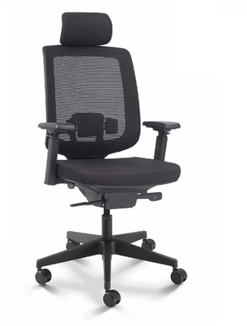 Cadeira para escritório giratória presidente 28001 AC - Syncron -  Linha C3 - BRAÇO 4D - Cavaletti - Base em Nylon -