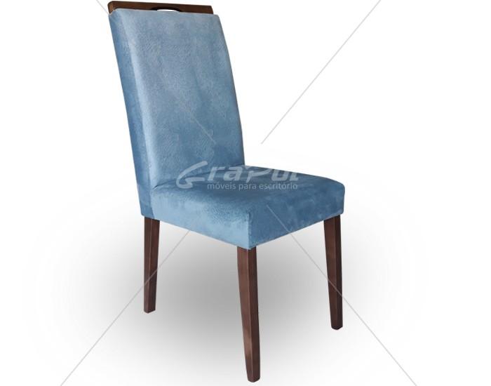 Cadeira Isa Almofadada, Base de Madeira, Com Puxador, s/ Braço