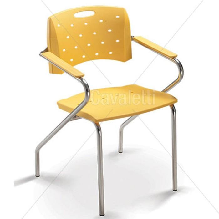 Cadeira para escritório fixa 35007 Z - Estrutura Cromada - Linha Viva - Cavaletti