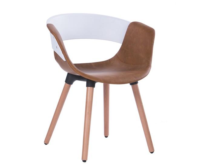 Cadeira ANM 6709F - Base em Madeira - Assento em Courino - Anima Home & Office