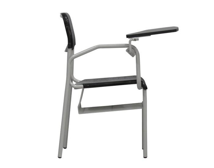 Cadeira Fixa ESC005 - Base Fixa Cinza - Com Prancheta Escamoteável - COM GRADIL - Linha Escolar - Frisokar