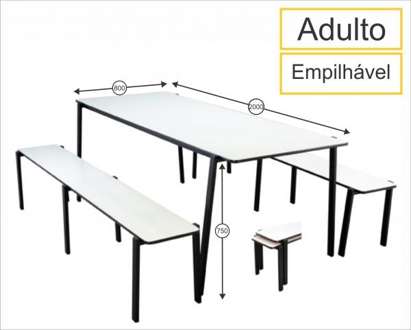 Mesa para Refeitório com bancos empilháveis adulto - 2000 x 800 x 750 mm - Dellus -