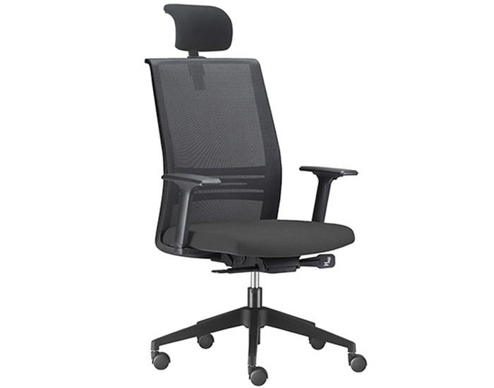 Cadeira para Escritório Presidente Giratória AC KAGI11 - Mecanismo Sincron - Base Nylon - Apoio Lombar - Com Braço - Rodízio PU - Linha Agile - Frisokar