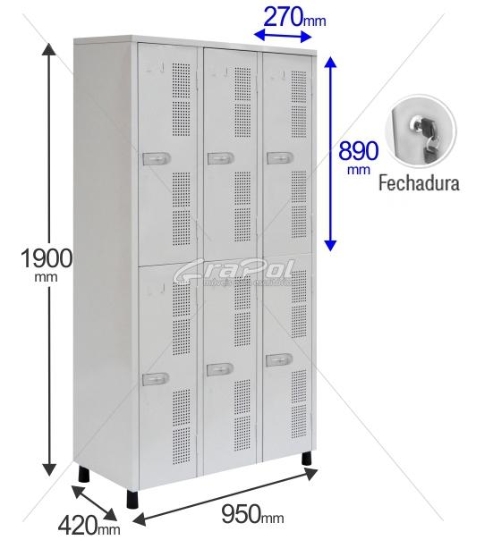 Roupeiro Para Vestiário RGRSP 6 Portas - Com FECHADURA - RCH