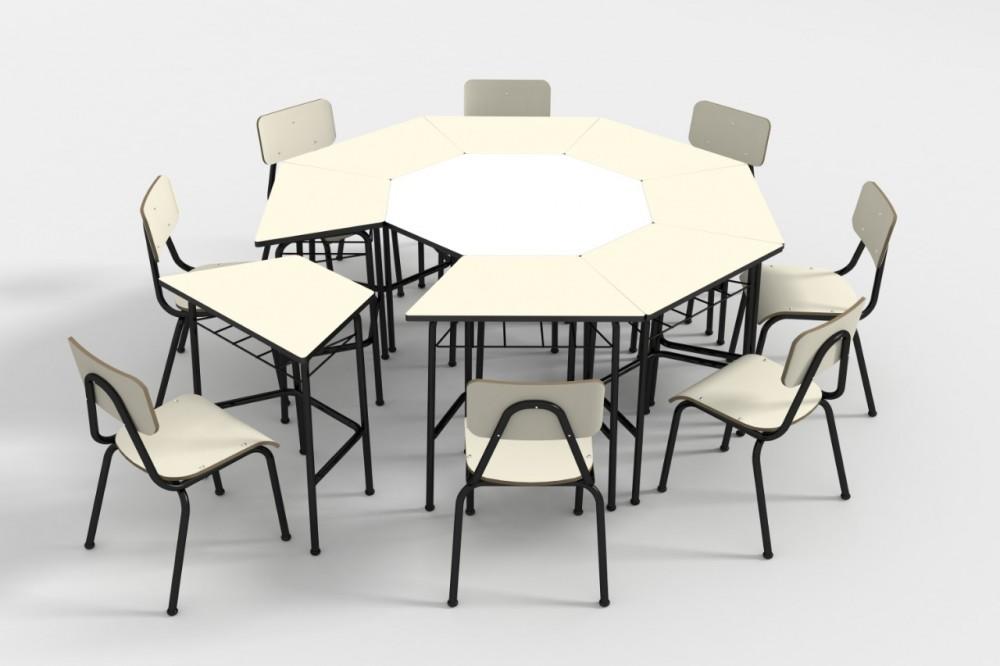 Conjunto de mesas e cadeiras OITAVADO INFANTIL (1 à 5 anos) Branco ou Bege - Dellus -